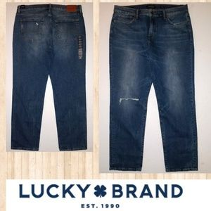Lucky Brand Mens 38 32 NEW 221 Straight Jeans Rips